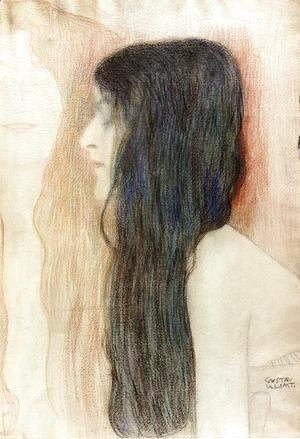 Gustav Klimt - Girl with Long Hair, with a sketch for 'Nude Veritas""