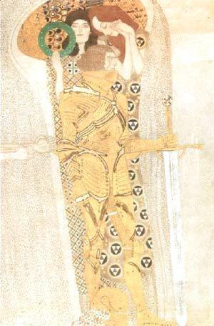 Gustav Klimt - Yearning for Happiness Detail from Bethoven Frieze 1905