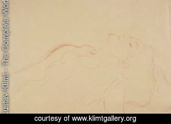 Gustav Klimt - Brustbild Nach Links, Mit Geschlossenen Augen (Torso Turned To The Left, With Closed Eyes)