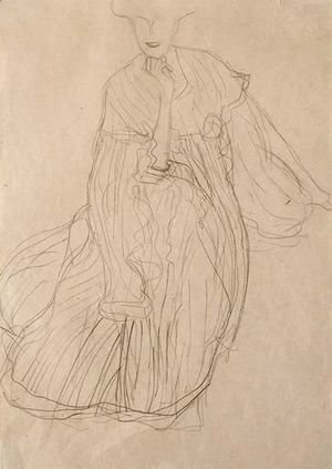 Gustav Klimt - Study For The Portrait Of Adele Bloch-Bauer Seated, From The Front, Her Right Hand Supporting Her Chin