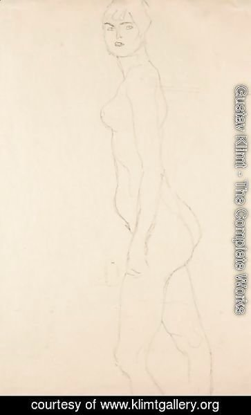 Gustav Klimt - Akt Nach Links, Studie Fur 'Die Freundinnen' (Nude Turned To The Left, Study For 'Die Freundinnen')