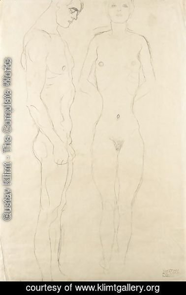 Gustav Klimt - Athlet Im Profil Nach Rechts, Frauenakt Von Vorne (Athlete In Profile Facing Right, Female Nude Seen From The Front)