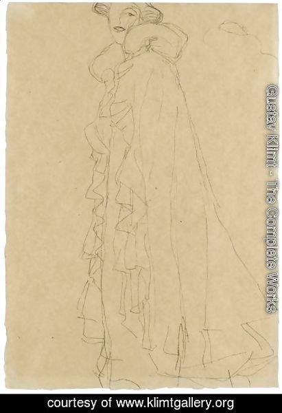 Gustav Klimt - Stehend Nach Links, Skizze Des Kragens Von Hinten (Standing Turned To The Left, Sketch Of The Collar From Reverse)