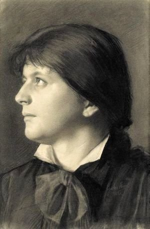 Brustbild Einer Nach Links Aufblickenden Frau (Portrait Of A Woman Looking Upwards To The Left)