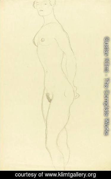 Gustav Klimt - Stehender Akt Nach Links (Standing Nude To The Left)