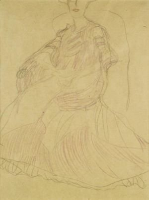 Gustav Klimt - Sitzend Nach Links, Die Hande Ineinandergelegt (Seated To The Left, Hands Clasped)