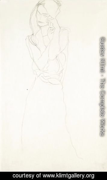 Gustav Klimt - Stehend Mit Erhobenen Unterarmen, Etwas Nach Links (Standing Figure With Raised Arms, Slightly To The Left)