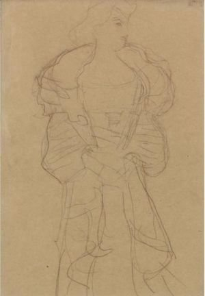 Gustav Klimt - Kniestuck Von Vorne, Den Kopf Nach Rechts (Frontal View Of The Knee, Head Turned To The Right)