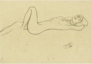 Gustav Klimt - Lying Female Nude With Positioned Left Leg