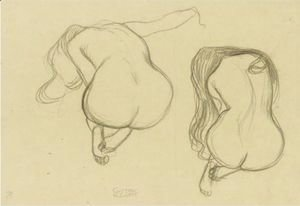 Gustav Klimt - Studies Of A Seated Nude From Behind With Long Hair