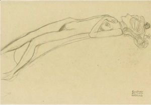 Gustav Klimt - Lying Girl Nude On Her Back, The Right Hand Above Her Head