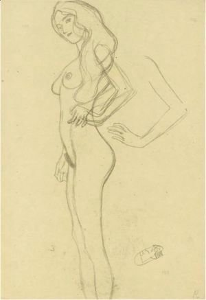 Standing Female Nude To The Left, Arm Study