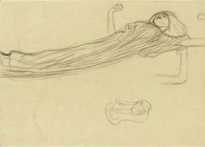 Gustav Klimt - Floating Draped Figure To The Right, Repetition Of The Left Arm