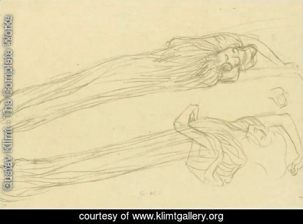 Two Studies Of A Floating Draped Figure To The Right