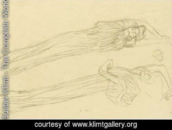 Gustav Klimt - Two Studies Of A Floating Draped Figure To The Right