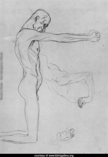 Kneeling Male Nude With Sprawled Out Arms, Male Torso