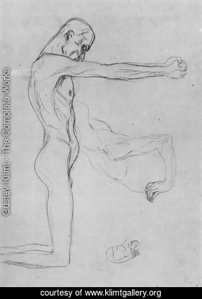 Gustav Klimt - Kneeling Male Nude With Sprawled Out Arms, Male Torso