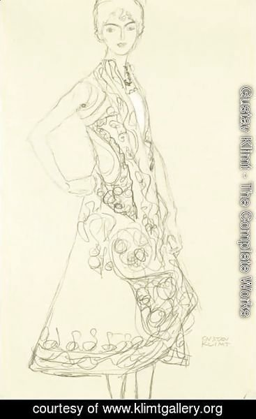 Gustav Klimt - Woman In Richly Patterned Dress, Right Hand Resting On Hip