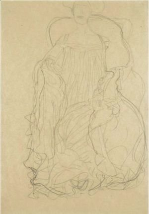 Gustav Klimt - Adele Bloch-Bauer Seated From The Front, A Boa Draped Over Her Left Shoulder