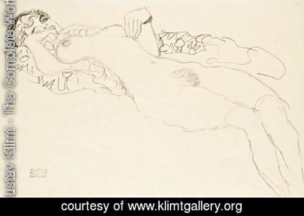 Gustav Klimt - Liegender Madchenakt Nach Links (Reclining Female Nude Facing Left)