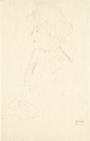 Gustav Klimt - Brustbild Im Profil Nach Links (Woman In Profile Facing Left)