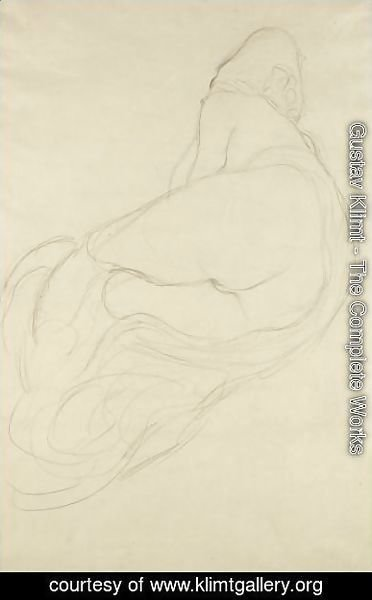 Gustav Klimt - Ruckenhalbakt Nach Links (Semi-Nude, Back View Facing Left)