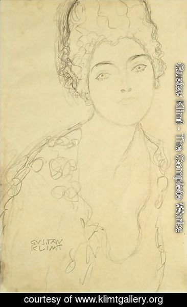 Gustav Klimt - Bust Of A Lady, Frontal View