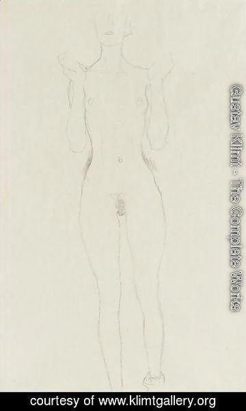 Gustav Klimt - Akt Mit Erhobenen Unterarmen (Nude With Raised Arms)