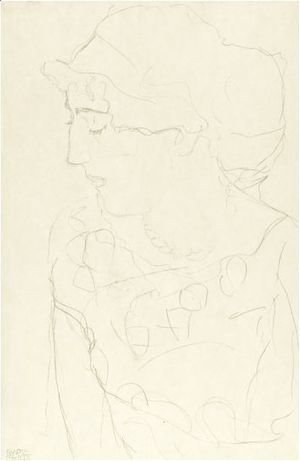 Gustav Klimt - Female Bust In Profile Or Woman With Blouse