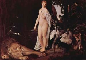 Female Nude with animals in a landscape
