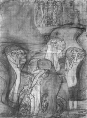 Gustav Klimt - Painted composition draft Jusisprudenz