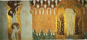 Gustav Klimt - The Beethoven Frieze The Longing for Happiness Finds Repose in Poetry. Right wall