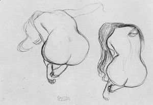 Gustav Klimt - Two Studies of Sitting Nudes