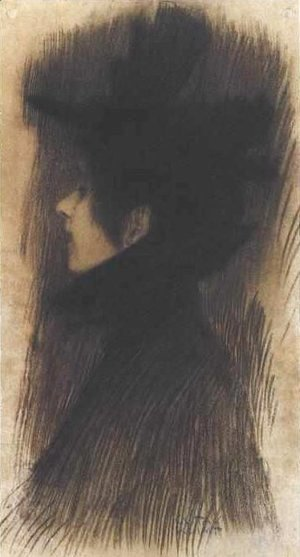 Gustav Klimt - Girl with hat and cape in profil