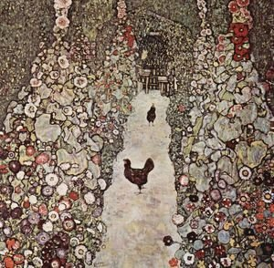 Gustav Klimt - Garden Path With Chicken