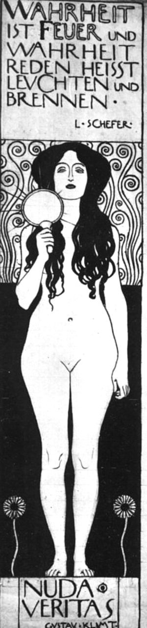 Gustav Klimt - Drawing for Two Emblems for Ver Sacrum (Nuda Veritas) 1898